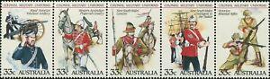 Australia-1985-SG964-Military-Uniforms-strip-of-5-MNH