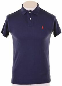 POLO-RALPH-LAUREN-Mens-Polo-Shirt-Medium-Navy-Blue-Cotton-Custom-Fit-KF03