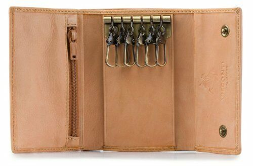 Visconti 1178 Leather Key Case Wallet Key Chain Holder Trifold Wallet Coin Purse