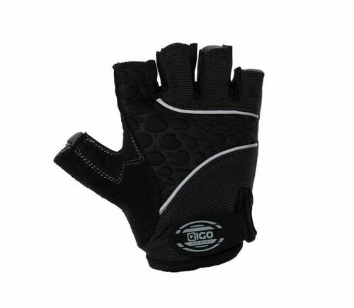 EIGO CYCLING GLOVES FINGERLESS S-XL HALF FINGER BIKE MTB ROAD GEL PADDED BLACK