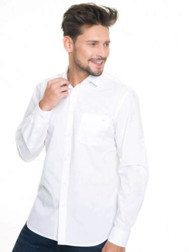 Big Star Uomo Maglietta kolisos SHIRT LS 110 Camicia Manica Lunga Bianco tessuti tempo libero