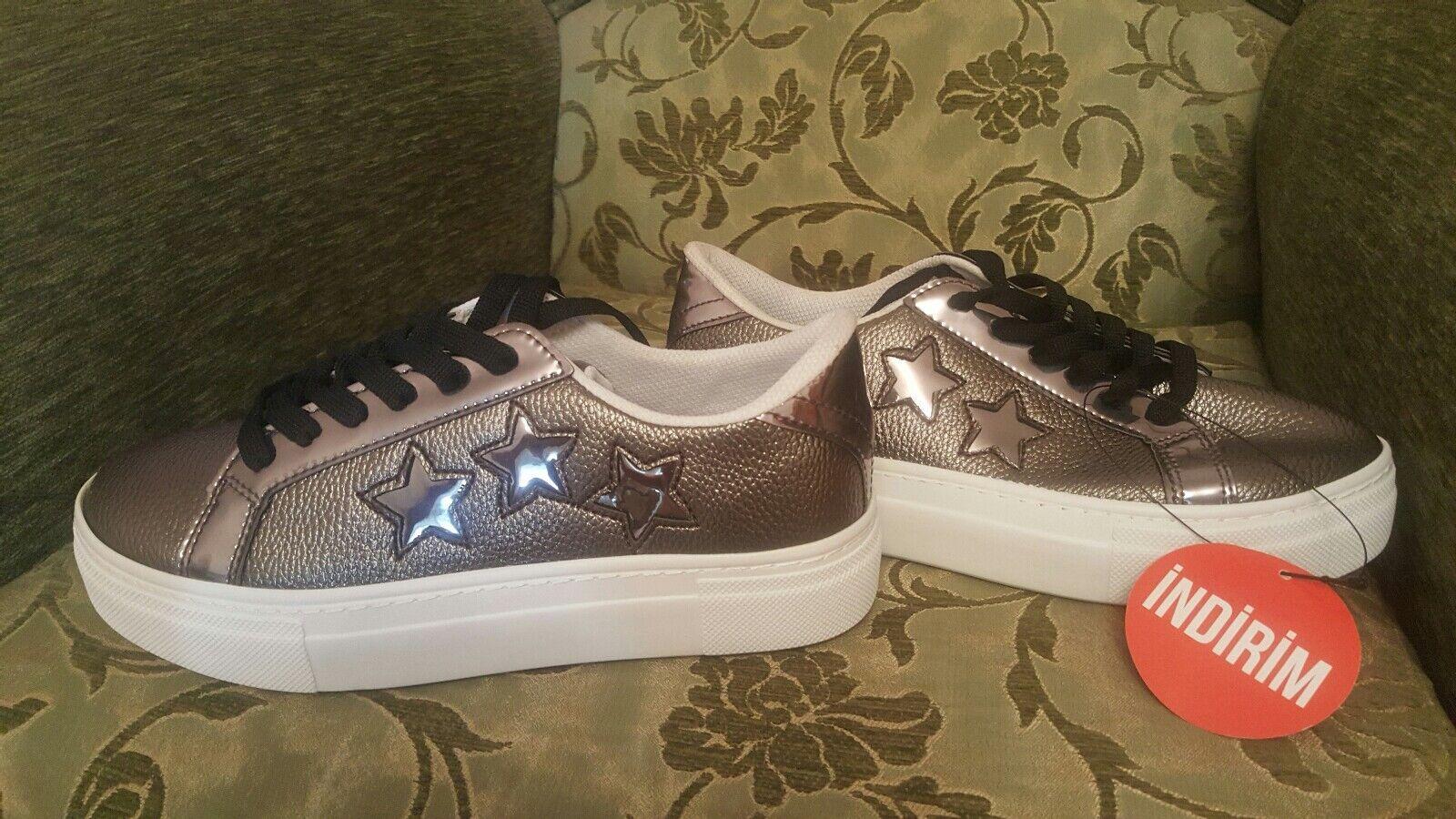 TOP Schuhe METALLIC DESA SNEAKERS SPORT CASUAL FOOTWEAR NEW 37 FITNESS  PLATFORM