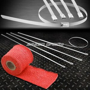 "5FT//60/""L 2/""W HEADER EXHAUST TURBO RED HEAT WRAP+STAINLESS SILVER ZIP TIE"