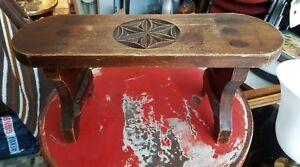 Ancien Petit Banc Rosace Sculptée Bois Art Populaire Savoyard Ebay