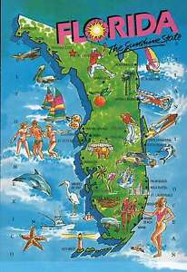 Flordia State Map.State Map Of Florida Sunshine State Miami Etc Beautiful 5 X 7