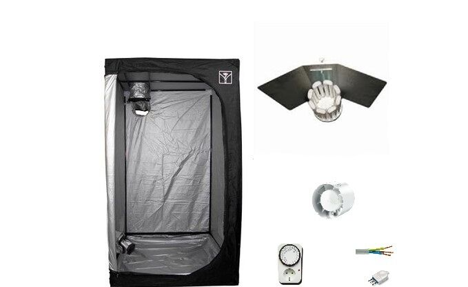 Cultibox Light Growroom 80x80x160cm completa kit 200W CFL rosso fioritura 2700K