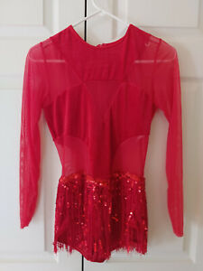 Girl Costume Gallery Red DO IT WELL 19600 Fringe Tap Jazz Dance Costume Size XLC