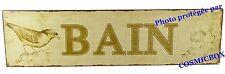 Plaque en métal salle de BAIN sepia oiseau déco murale steel advertising plate