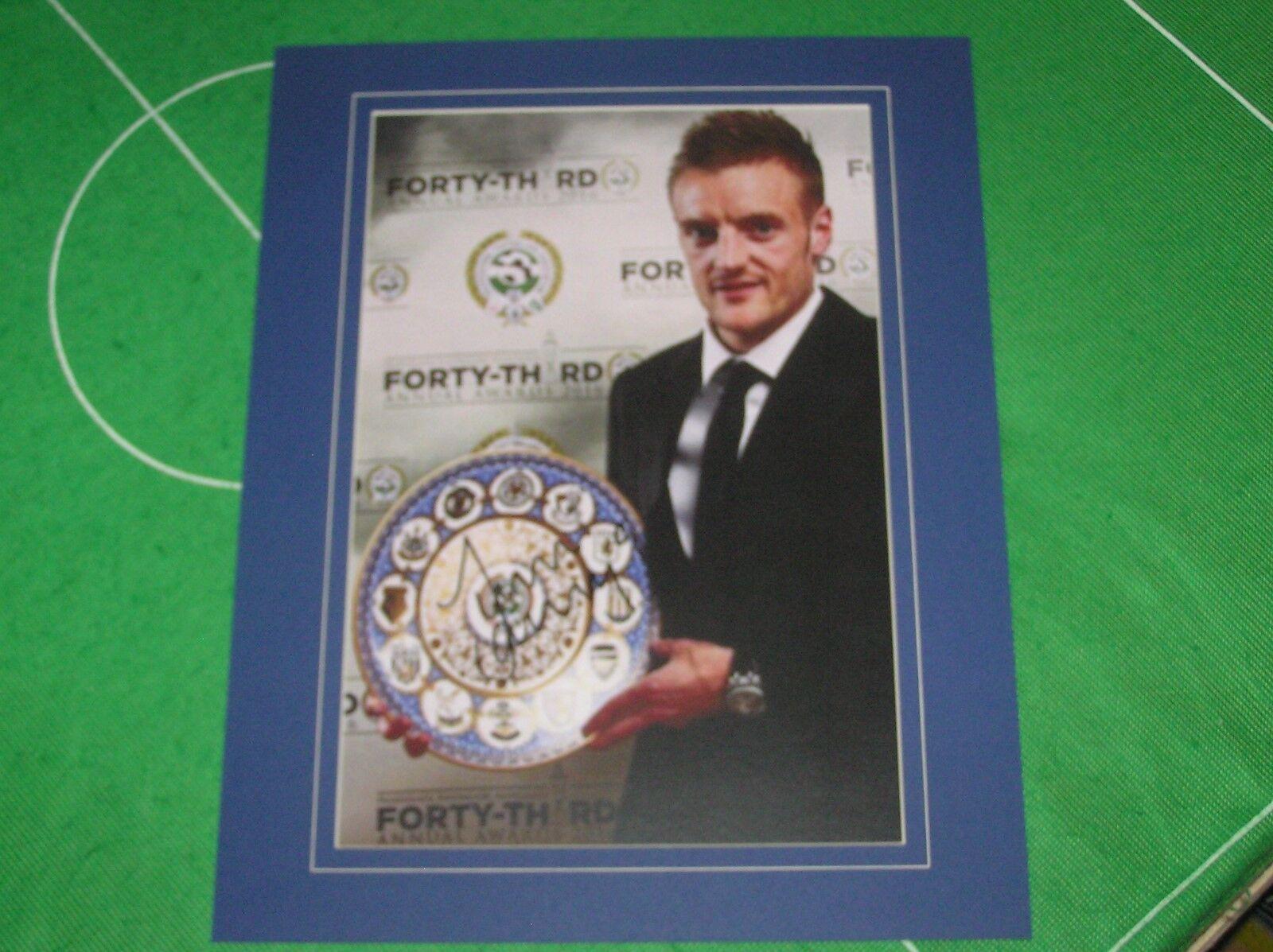 Jamie Vardy Signé & Monté Leicester City' 11 In 11' 11' 11' Record Pfa Award Photo bd5317