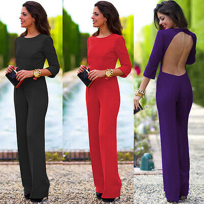 Women Ladies Celeb Red Backless Playsuit Party Evening Dress Jumpsuit 8 10 12 14
