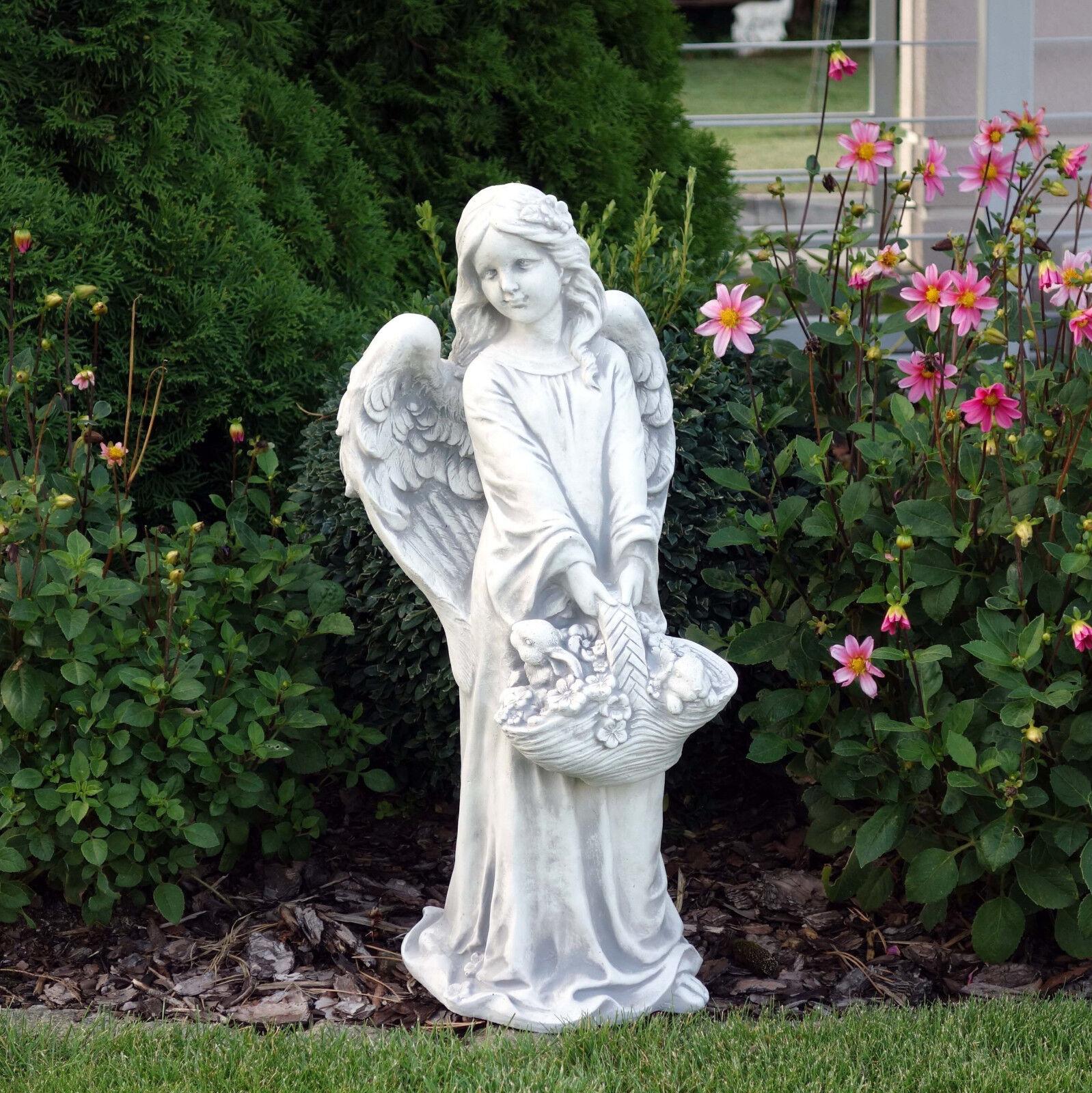Top Modell Massive Steinfigur Engel mit Blaumenkorb Grabdeko Gartendeko Steinguss