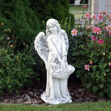 Top Modell Massive Steinfigur Engel mit Blumenkorb Grabdeko Gartendeko Steinguss
