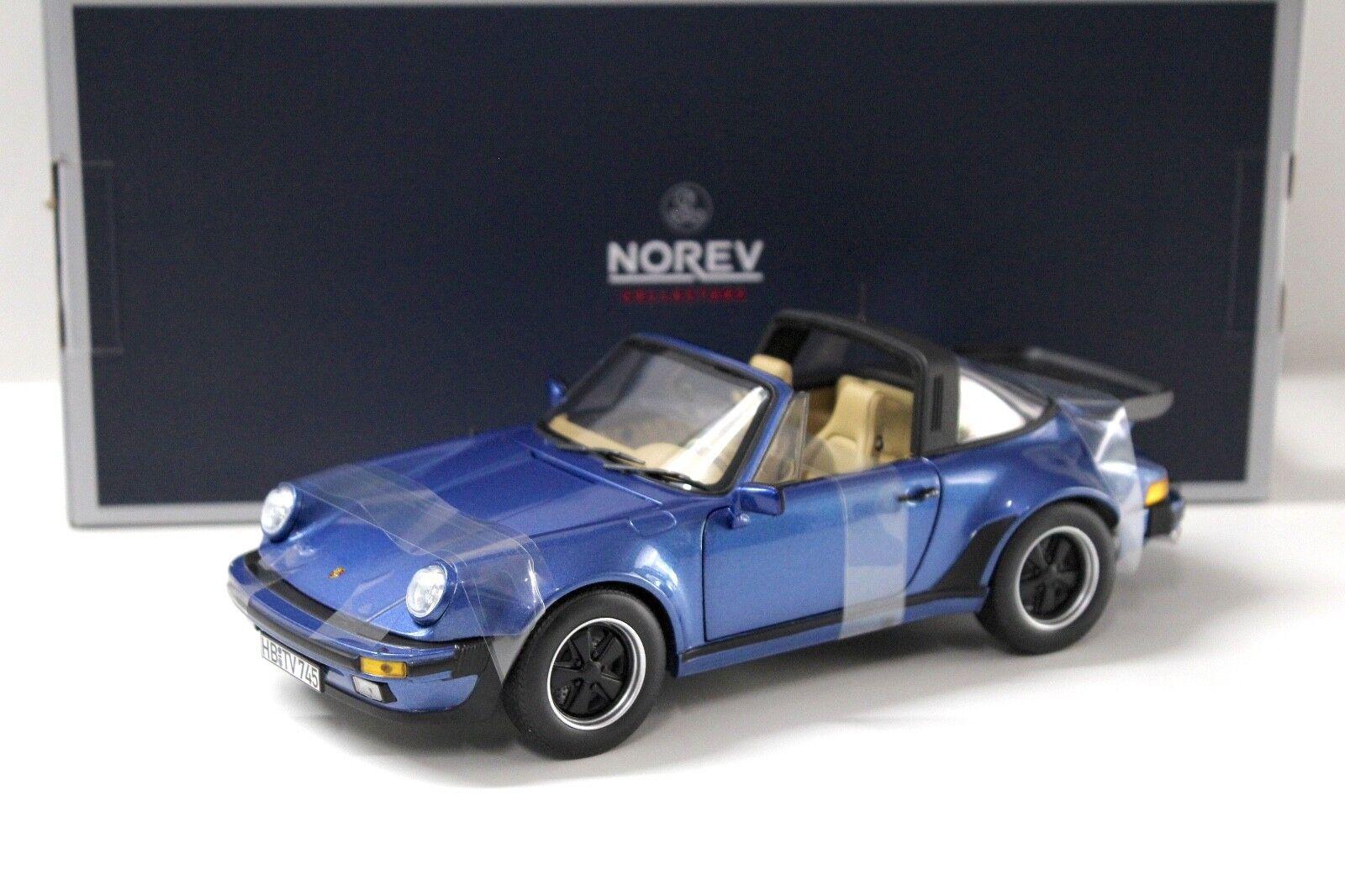 1 18 NOREV PORSCHE 911 Turbo Targa 3.3 azul 1987 NEW per PREMIUM-MODELCARS