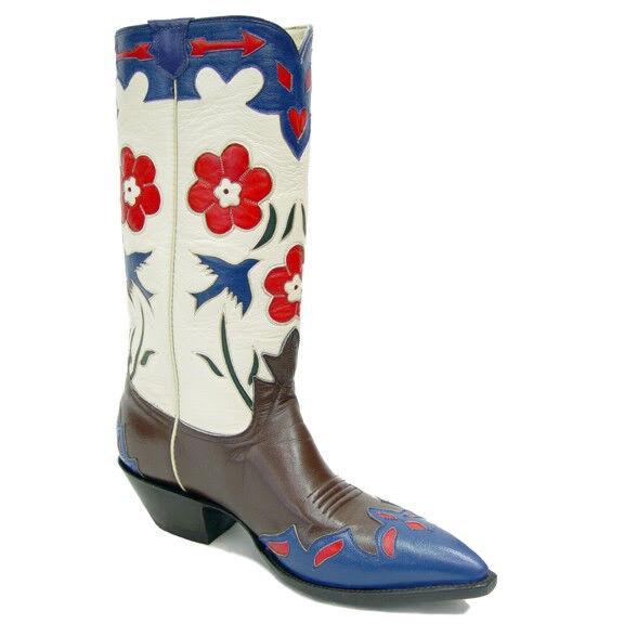 Blauer Vogel Retro Echtleder Cowboy Stiefel Damen Größe 6b Rancho Loco