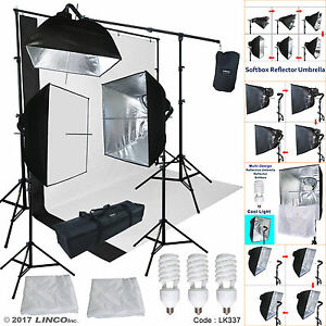 Black-White-Backdrop-Support-Stand-Photography-Studio-Video-Softbox-Lighting-Kit