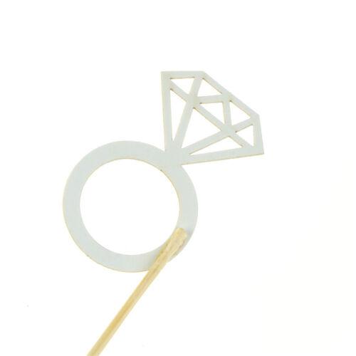 10pcs Glitter Diamond Ring Cupcake Cake Toppers Wedding Cake Decorations  new.