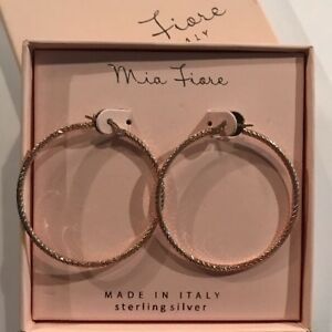 771ce76cbcdb6 Details about Mia Fiore Made in Italy Sterling Silver Gold Hoops Earrings 2