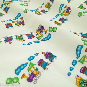 Little choo choo childrens train fabric 100 cotton poplin for Fabric with trains pattern