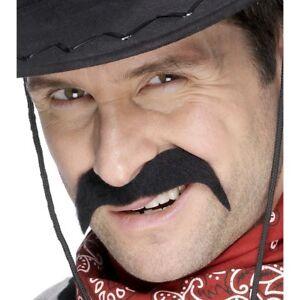 Cowboy-Fancy-Dress-Tash-70s-Moustache-Tache-Black-New-by-Smiffys