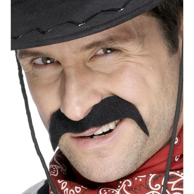 Cowboy Fancy Dress Tash 70s Moustache Tache Black New by Smiffys