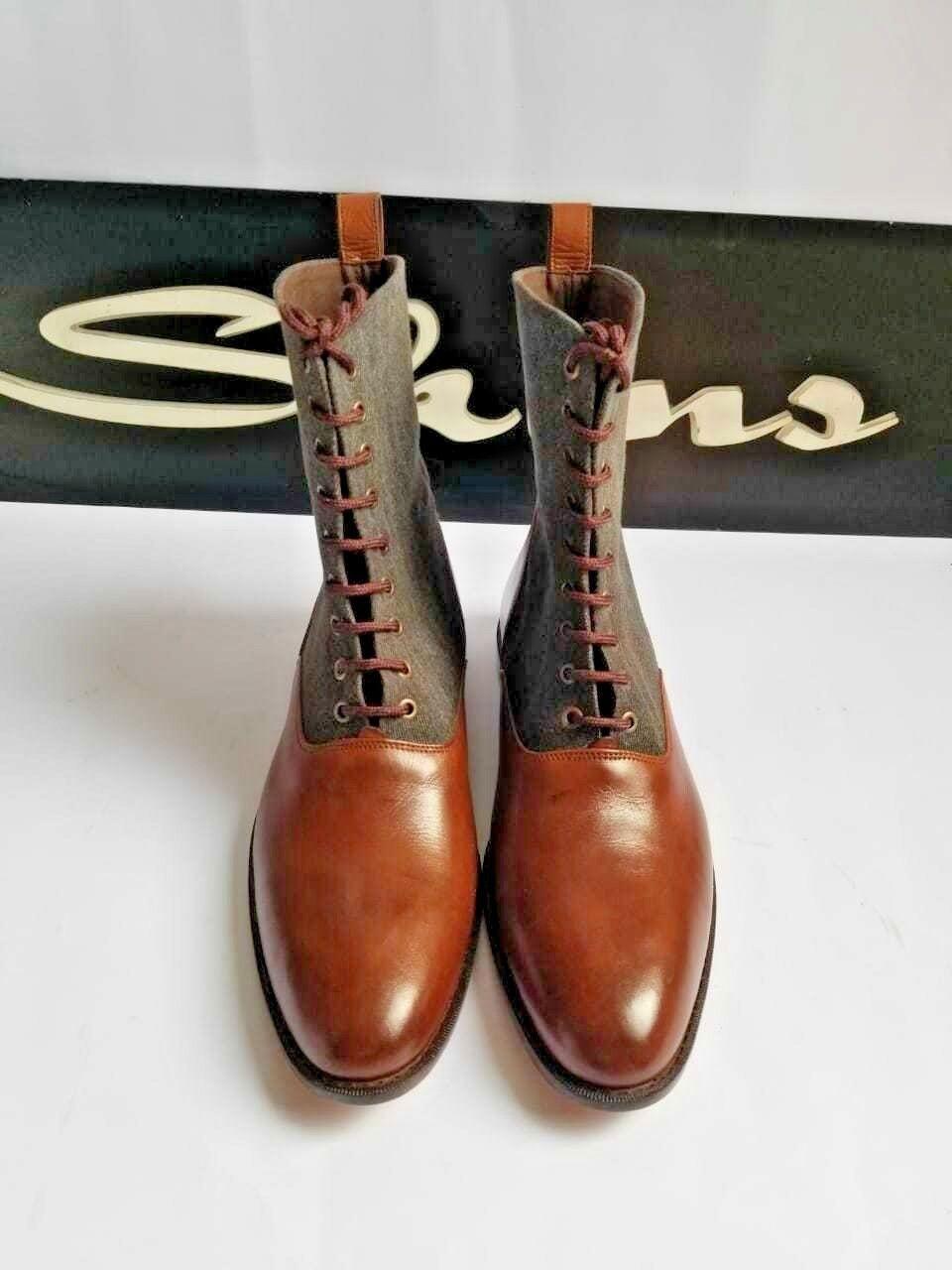 Handmade Men Two Tone Fabric Top Stiefel,Chukka Stiefel,Formal Stiefel,Formal Stiefel,Formal Casual Stiefel ,Jodhpur 6aebe0
