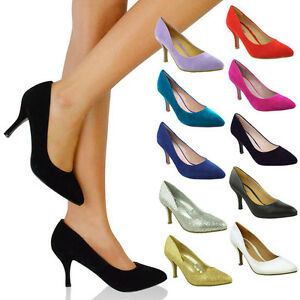 WOMENS LADIES LOW MID KITTEN HEEL PUMPS POINTED TOE COURT WORK ...