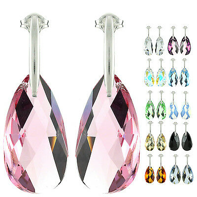 925 Sterling Silver Faceted Pear Pink Sapphire Crystal Stud Earrings