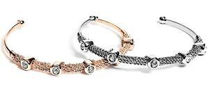 NWT GUESS LOGO BANGLE BRACELET Rose Gold /& Rhinestone GENUINE