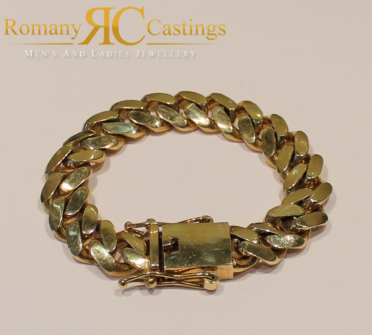 8.5 INCH Rapper Curb Link  Bracelet  Jewellers Bronze Dipped in 9ct gold 90g