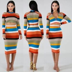 Women-Stripes-Two-Piece-Set-Dress-Off-Shoulder-Long-Sleeve-Crop-Top-Midi-Skirt