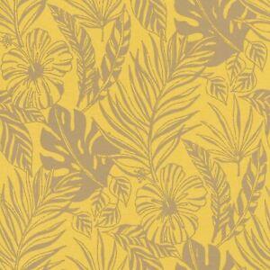 Portefeuille-Tropical-Feuille-Papier-Peint-Jaune-Dore-Rasch-215526