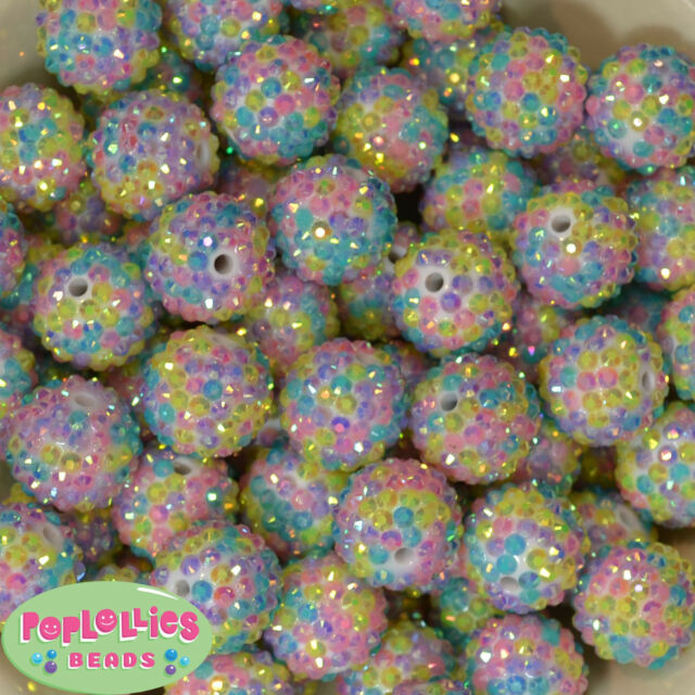 20mm Christmas Confetti Rhinestone Bubblegum Beads 20pc chunky gumball crystal