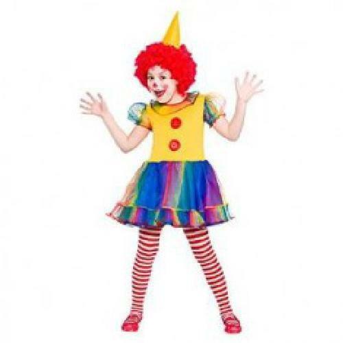 Girls Little Clown Fancy Dress Up Party Costume Halloween Child