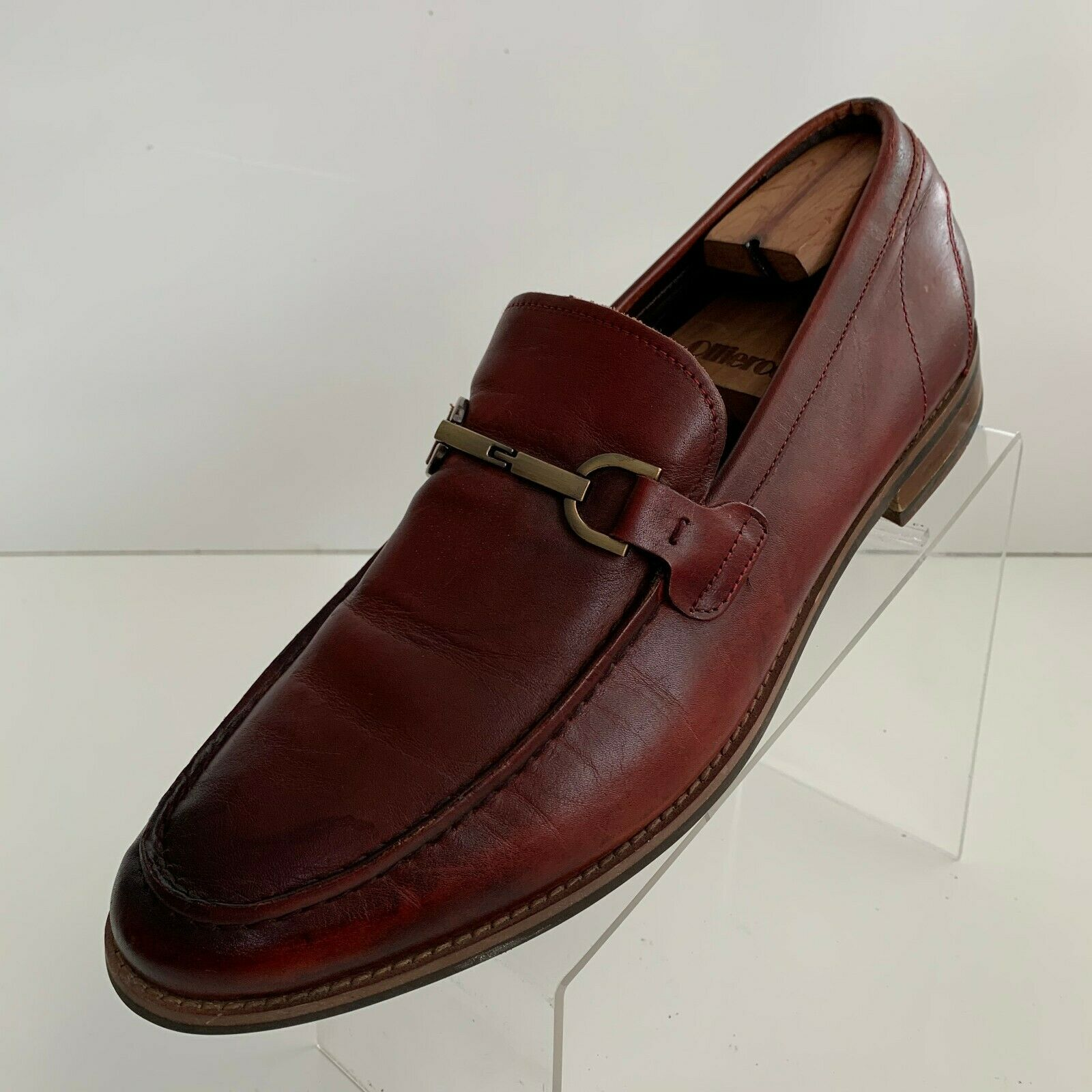 Kenneth Cole Reaction Mens Lead The Way Bit Loafers Brown Leather Shoes Size 12M