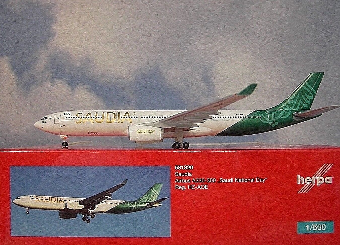 Herpa Wings 1 500 Airbus A330-300 Saudia Hz-Aqe 531320 Modellairport500