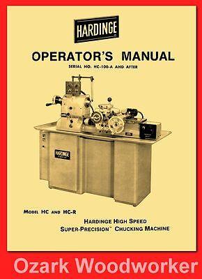 HARDINGE HC /& HC-R Chucking Machine Lathes Operator's Manual 1121