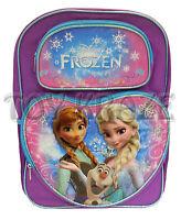 Disney's Frozen Backpack Purple Blue Lining Heart Olaf School Book Bag 16