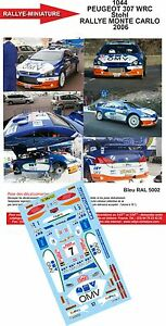 DECALS 1//32 REF 1230 PEUGEOT 307 WRC CUOQ RALLYE MONTE CARLO 2007 RALLY