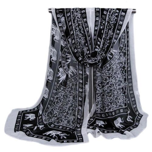 Indian Elephant Print Fashion Ladies Scarves Chiffon Soft Scarf Women Shawls UK