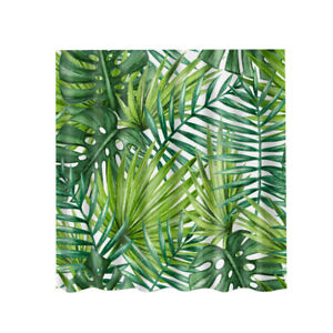 Image Is Loading Retro Shower Curtain Palm Leaf Polyester Panel Hanging