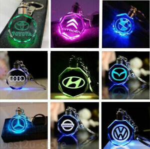 Car-Logo-Keychain-Crystal-Light-keyring-Color-LED-Light-Gift-Box-UK-2020-NEW