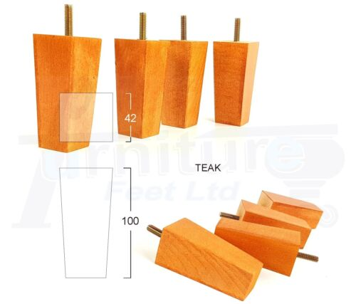 8mm CHAIRS 100mm HIGH M8 4x WOODEN FURNITURE FEET REPLACEMENT LEGS FOR SOFAS