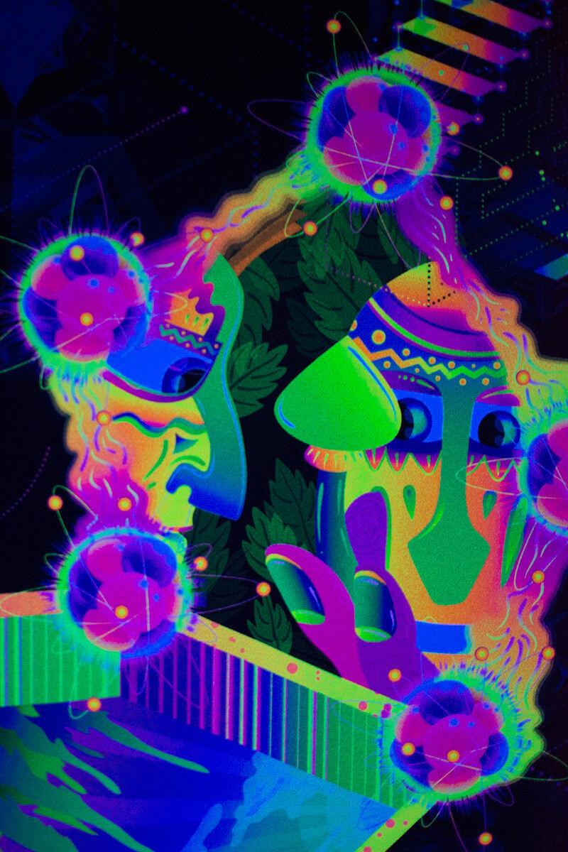UV lueur fond lueur UV fluorescente Tapisserie Psychédélique Art Banner Psy Wall Hanging 959d40