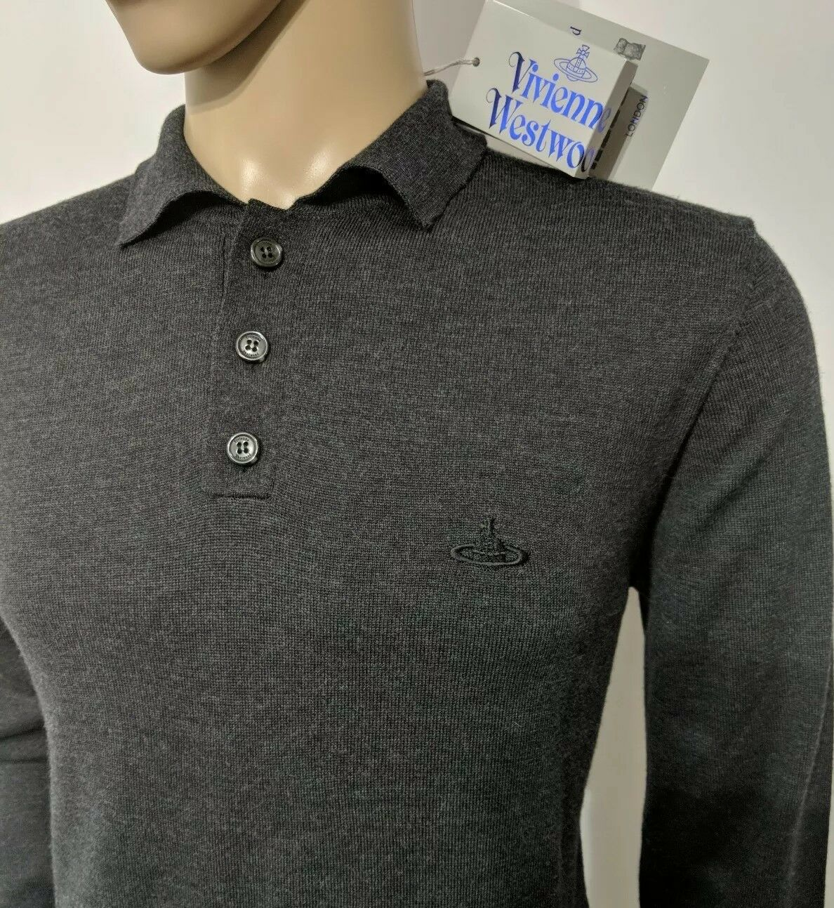 New Vivienne Westwood Mens Jumper Charcoal Pure Wool Polo Sweater Sz M RRP