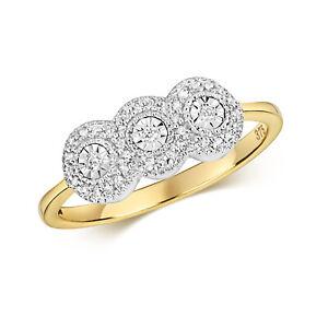 9ct-Yellow-Gold-Three-diamond-Cluster-Ring-FREE-POSTAGE-LARGE-SIZES