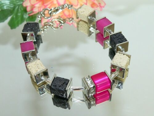 3er Schmuckset Perlen Würfel Lava sand schwarz Polaris pink Strass silber  305n