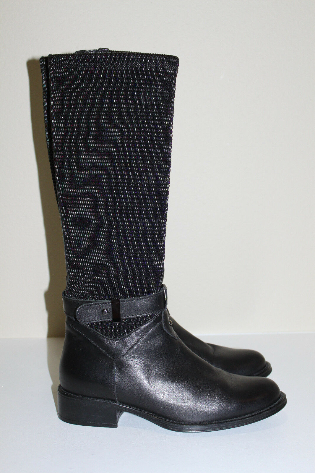 6 / 36 Aquatalia by Marvin K Undy Weatherproof BLACK Woven Leather Boot Shoe