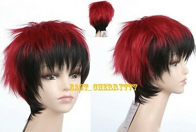 Hot Sell!!! New Short layered Red and Black Mixed Anime Cosplay wig WJY671