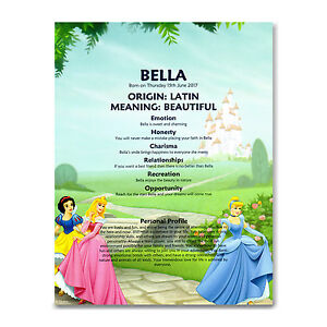 Name Meaning Print Disney Princess Personalised Gift Christening