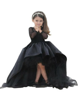Black-High-Low-Flower-Girl-Dresses-Lace-Long-Sleeve-First-Commuion-Dress-Party